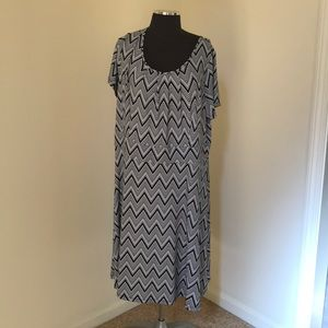 Talbots 1X Black /White S/S Dress